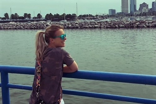 Laura bij Lake Michigan